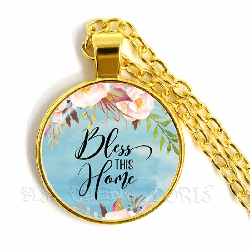 Bless This Home Bible Verse Pendant Necklace Glass Dome Necklace Scripture Quote Faith Jewelry For Women Men Christian Gifts