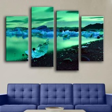 Promotion Modern Canvas New Product Unframed Print Painting Wall 4pc/set Iceland Northern Lights Art Picture For Living Room