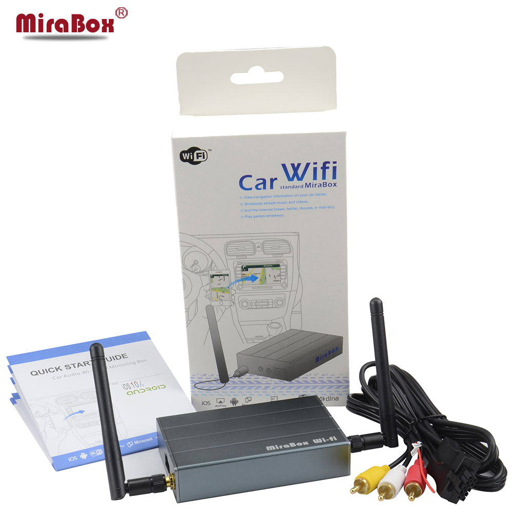 Car WiFi MiraBox For iOSAndroid Phone Mirrorlink Box For Miracast Allshare Cast DLNA Airplay Car WiFi Screen Mirroring Box 5 8g car wifi mirrorlink box for ios11 10 android car wifi airplay mirroring miracast dlna support youtube mirroring
