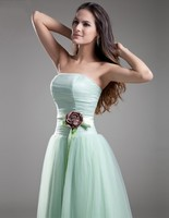 Setwell Women Mint Green A Line Sweetheart Tulle Evening Dress Simple Design With Flowers Floor Length