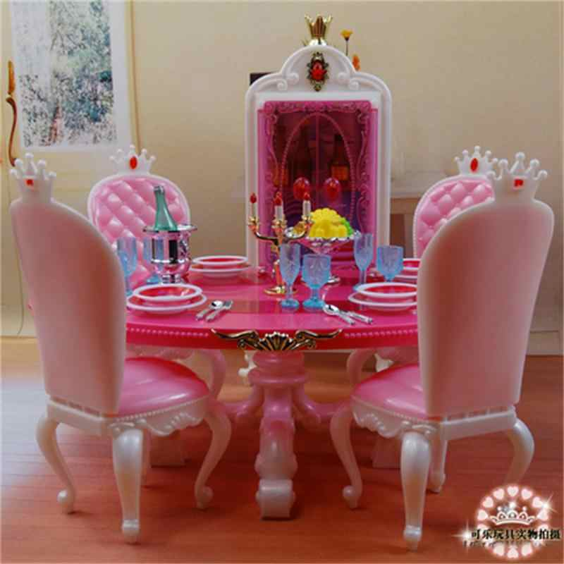 For Barbie Doll Furniture Accessories Plastic Toy Restaurant Dining Table Wine Cooler Chair Tableware Play House Gift Girl DIY