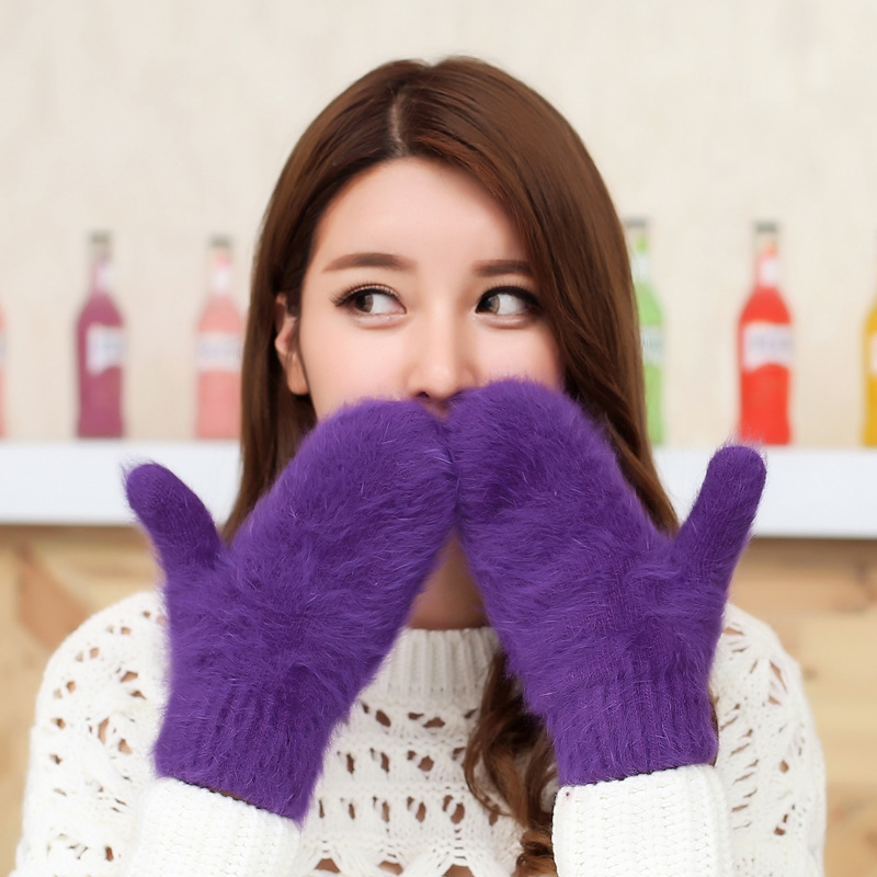 Merry Christmas Gifts Winter Women Gloves Rabbit Fur Gloves Soft Mittens Wrist Warm Gloves Luvas Feminina 7Color