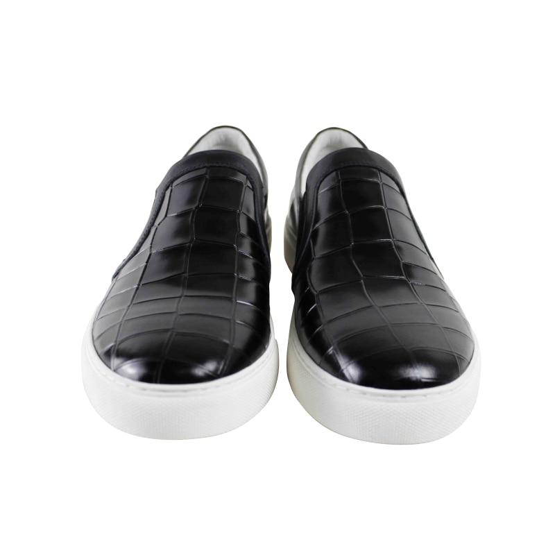 Echtem Black Leder Mens 2019 Flache Heiße Komfortable Aus Handgemachte Verkäufe Schwarz Mode Casual Männlichen Freizeit Skateboard Schuhe Vikeduo S1wz1