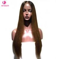 Горячие Красота волос Синтетические волосы на кружеве человеческих волос парики бразильский Прямо Ombre Парик Волосы remy натуральных волос