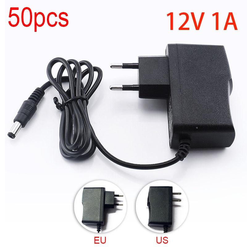 50PCS 100 240V 12V 1000mA AC to DC Power Adapter Supply Charger adapter for LED Strip Light CCTV Camera EU Plug 5.5mm x 2.5mm