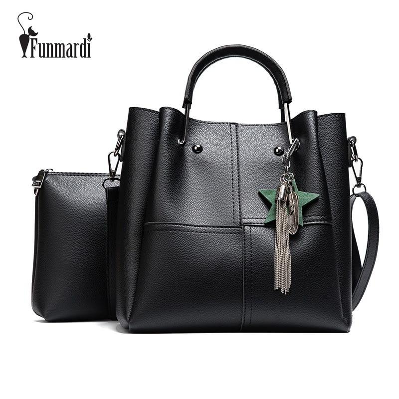 FUNMARDI Luxury 2 pcs/set Women Handbags PU Leather Tote Bags Tassel Women Messenger Bag Solid colors Composite Bag WLHB1713