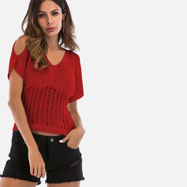 Plunge Neck Womens T shirts