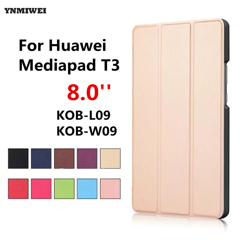 Tablet Case For Huawei Mediapad T3 8 Stand Flip Leather Cover Case For Honor Play Pad 2 8.0 inch KOB-L09 KOB-W09 +protector folio slim cover case for huawei mediapad t3 7 0 bg2 w09 tablet for honor play pad 2 7 0 protective cover skin free gift