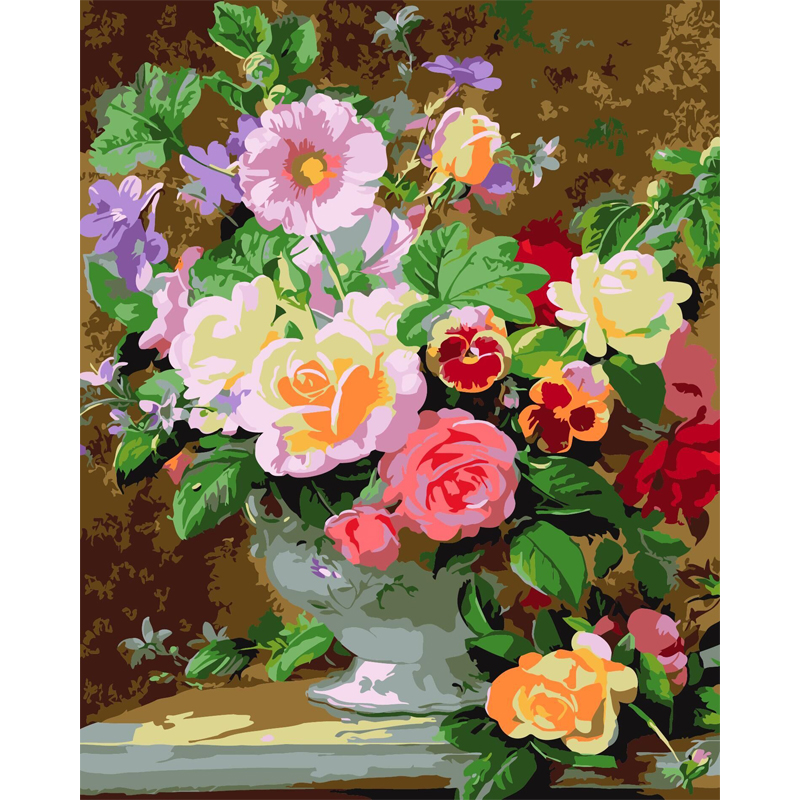 Frameless Canvas Art Oil Painting Flower Painting Design: Frameless Europe Flower DIY Painting By Numbers Acrylic