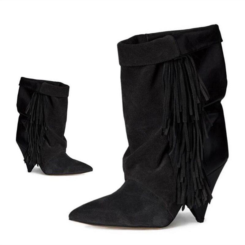 где купить Tassel Woman Boots Suede Fringe Ankle Boots Slip On Spike High Heels Pointed Toe Runway Woman Boots Wedge Shoes Plus Size Tide по лучшей цене