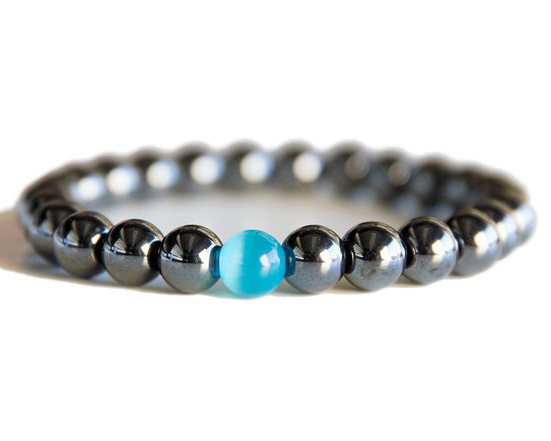 Men Black Magnetic Hemae Beads Bracelet With Blue Cat Eye Stone Therapy Energy Health Care Ful Yoga Jewelry In Strand Bracelets From