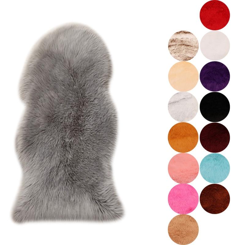 Fur Artificial Sheepskin Hairy Carpet for Living Room Bedroom Rugs Skin Fur Plain Fluffy Area Rugs Washable Bedroom Faux Mat|Carpet| |  - title=