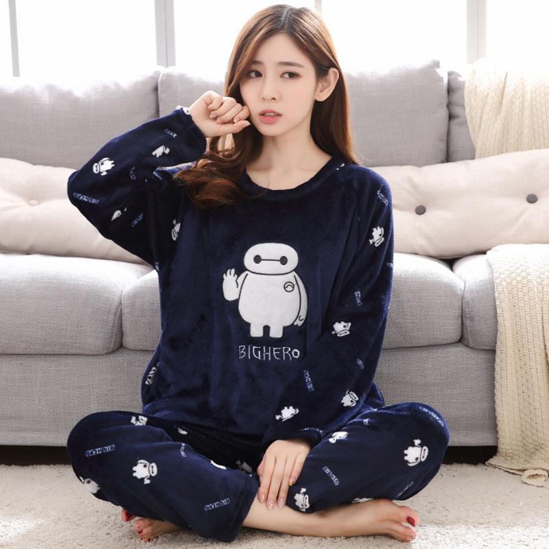 fashion Winter Women Pajamas Warm Flannel Cartoon Leisure Home Clothes Women Pajamas Set Coral fleece stripe Girl Sleepwear suit 65
