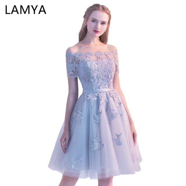 201ae4bdd LAMYA Short Lace Sleeve Prom Dresses Boat Neck Evening Party Dress 2018  Elegant Plus Size Formal Gown vestido de festa