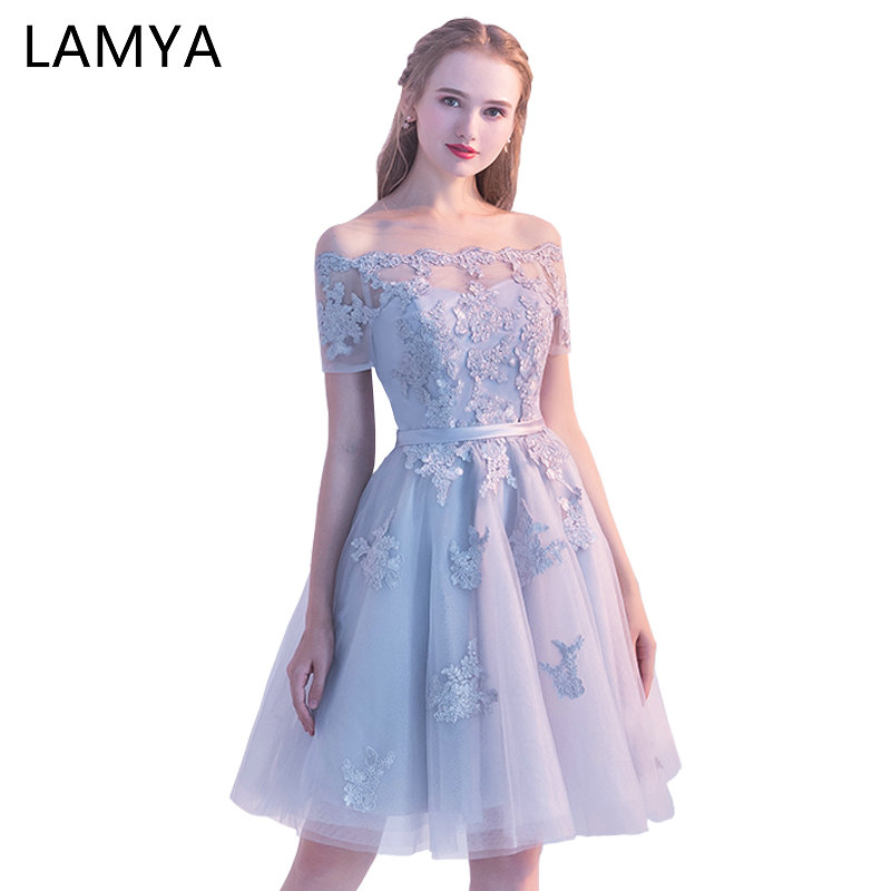 LAMYA Short Lace Sleeve   Prom     Dresses   Boat Neck Evening Party   Dress   2019 Elegant Plus Size Formal Gown vestido de festa