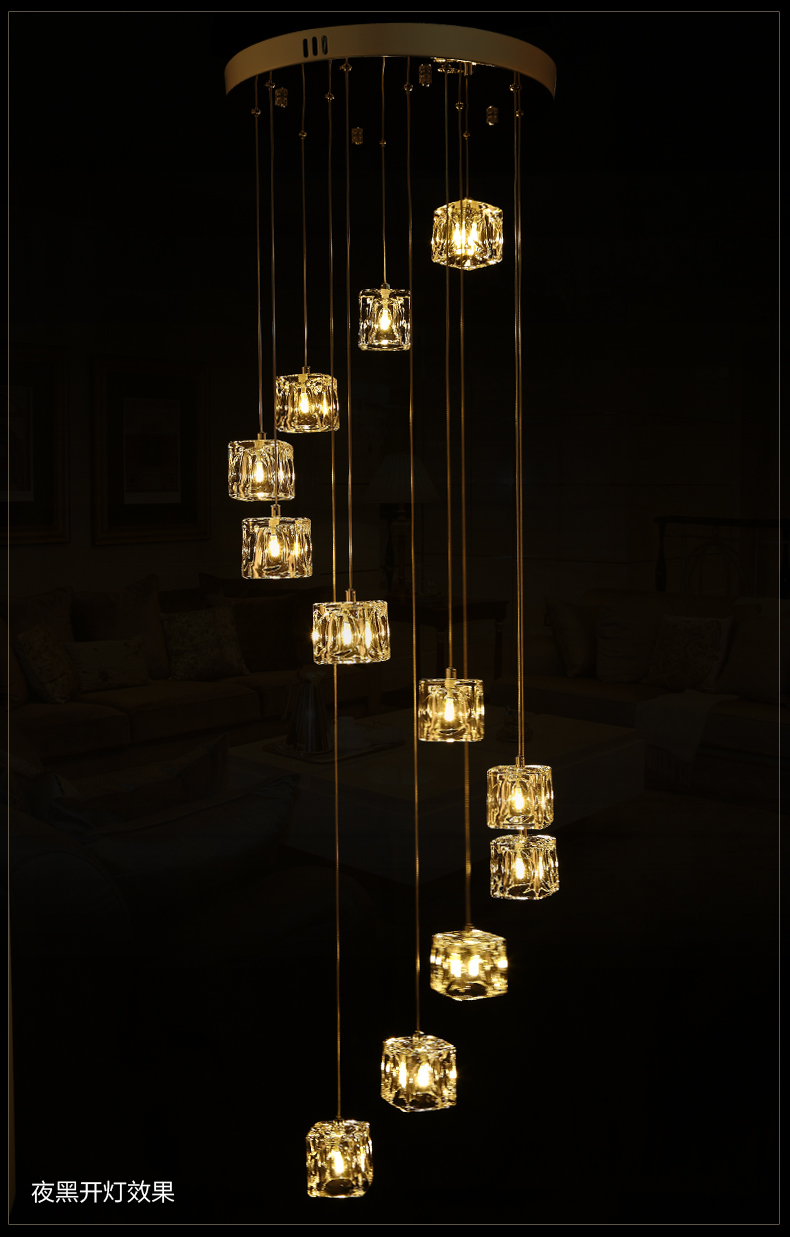 Hotel stairway 1 5m extra long light fishing hanging suspension hotel stairway 1 5m extra long light fishing hanging suspension light cube glass g4 led chandelier fixture spiral crystal light in chandeliers from lights arubaitofo Gallery