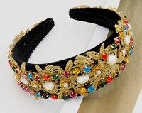 Korea Moda Luksusowe Szeroki Barokowy handmake z Pałąkiem na głowę Hairband Tiara Bridal Korona Kryształ Rhinestone Flower Fairies Dostęp