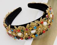 Korea Mode Luxus Breite Barock handmake Stirnband Crown Kristall Strass Blume Feen Haarband Tiara Braut Zugang