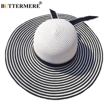 BUTTERMERE Hepburn Wide Brim Ladies Sun Hat Straw Women Summer Striped Bowknot Female Beach Casual Black And White