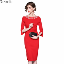 Readit Bodycon Dress 2017 Autumn Pure Color O-neck Nail Bead Knitted Dress Slim Dress Open Fork  Elegant Dress Vestidos D2516
