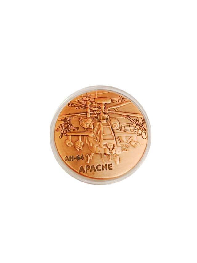 United States Army AH-64 APACHE Plane Coin American Military Challenge Brass Plated 40*3mm Coin For Collection