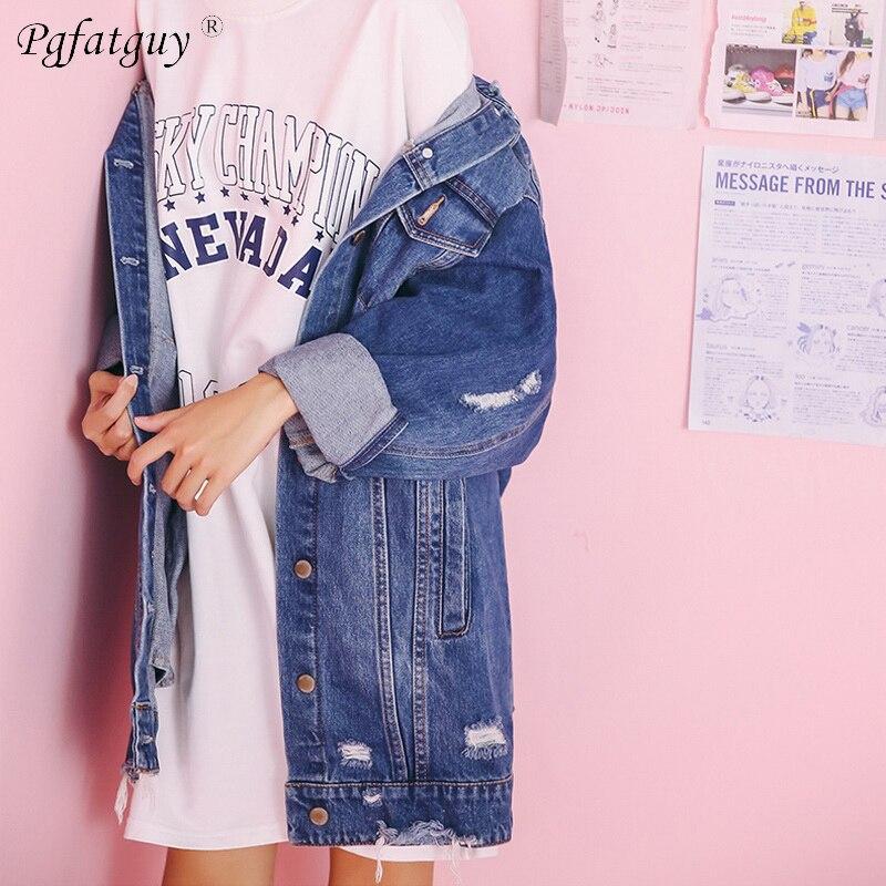 Veste Denim Manches Vintage Quatre 2018 Style Cardigan Surdimensionné Jeans Longue Porter Manteau Saison Bleu Nouveau Pleine Fx4pqIwx