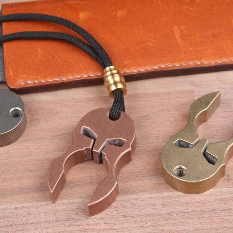 Открытый многофункциональный EDC инструмент, титановая латунная медная маска открывалка, Кемпинг путешествия самообороны брелок инструмен... - 6