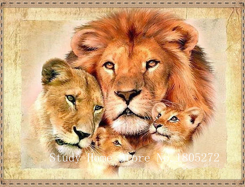 Вышивка крестом девушка и лев