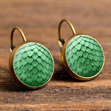 Mermaid Scale Pattern Drop Earring for Women Green Pink Blue Color Vintage Eardrop Wholesale Earings Fashion Jewelry 2018 Gift vintage kaleidoscope flower drop earring for women blue purple indian mandala pattern round eardrop wholesale brincos 2018