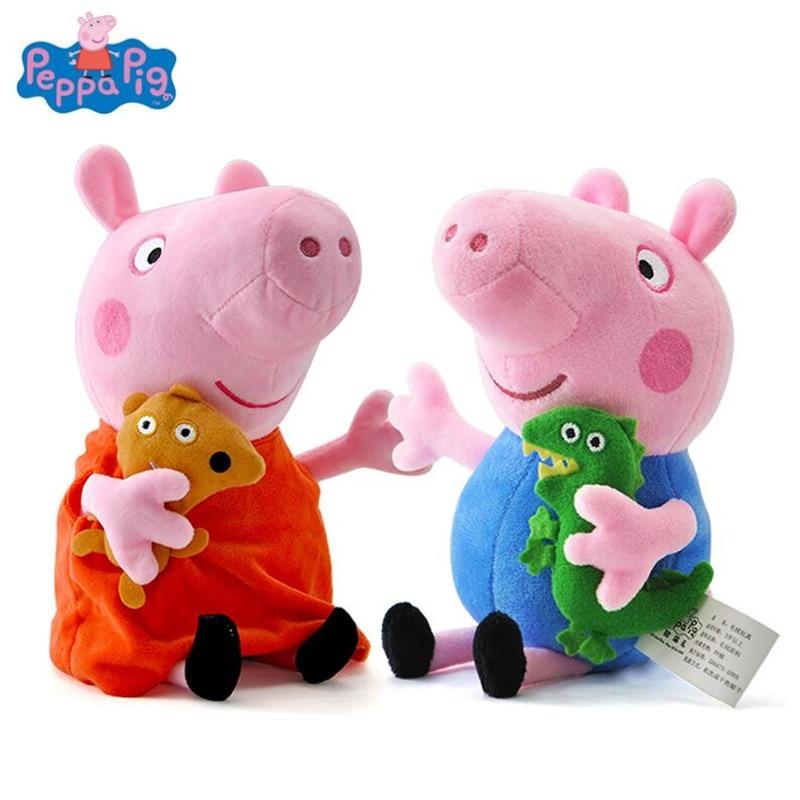 정품 peppa 돼지 19 cm 핑크 돼지 플러시 장난감 어린이 가족 파티에 대 한 고품질 뜨거운 판매 부드러운 인형 만화 동물 인형