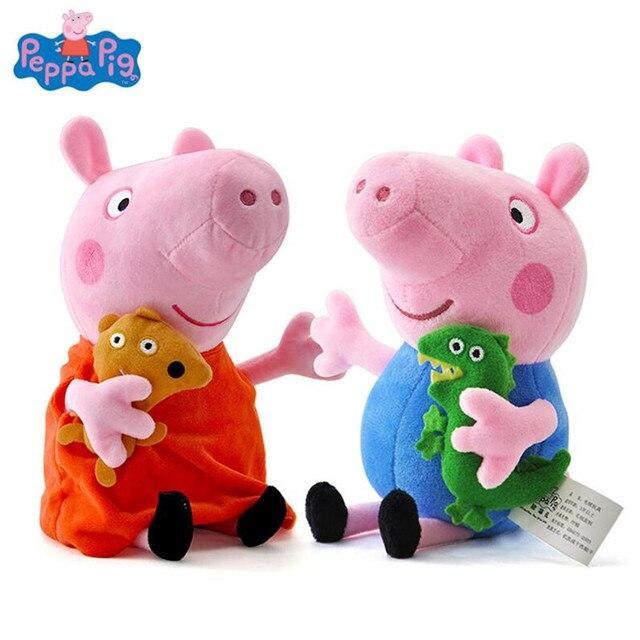 Genuíno Porco Peppa 19 CM Porco Cor de Rosa de Pelúcia Brinquedos de Alta Qualidade Venda quente Macio Stuffed Animal Dos Desenhos Animados Boneca para As Crianças da Família partido