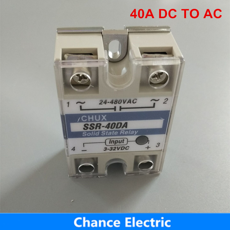 SSR 40A DC To AC 3-32VDC 220v White Shell Single-phase Solid State Relay  SSR-40DA ssr 40da single phase solid state relay white silver