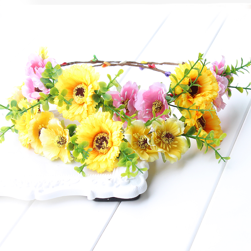 solros Fairy Flower Crown Solros Headband Gul Daisy Headdress Simulering Flower Photography Props blommig äng