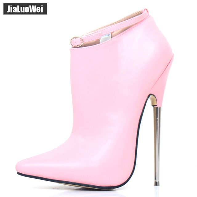קיצוני גבוהה עקבים נשים אביב סתיו משאבות 18cm מתכת ספייק עקבים הבוהן מחודדת פגיון סקסי קרסול רצועת המפלגה ריקוד נעליים