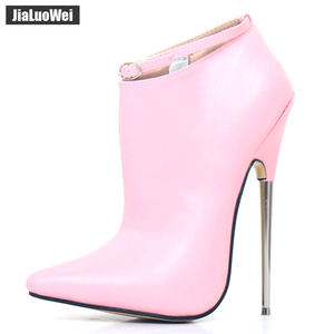 Image 1 - Extreme High Heels Women Spring Autumn Pumps 18cm Metal Spike Heels Pointed Toe Stiletto Sexy Ankle Strap Party Dance Shoes