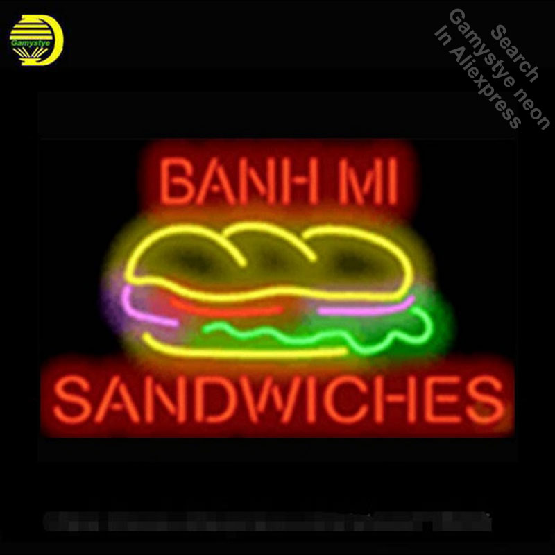 Banh Mi Sandwiches Neon Sign Commercial Neon Bulbs Real Glass Tube Shops Display Handicrafted Recreation Room Attract 19x15 VD