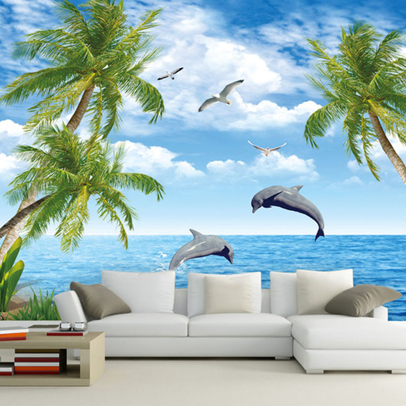 Custom Photo Wallpaper Large Mural TV Background Wall Scenery 3D Simple Mediterranean Blue Sky Sea Dolphin In Wallpapers From Home