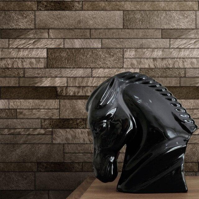3D Imitation Cuir Motif Doux Plume Papier Peint Salon Fond Hôtel KTV  Moderne Simulation Fourrure Cuir