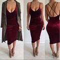 2017 new spring summer sexy bandage dress women V-neck strap evening party dress club midi velvet red dresses robe sexy