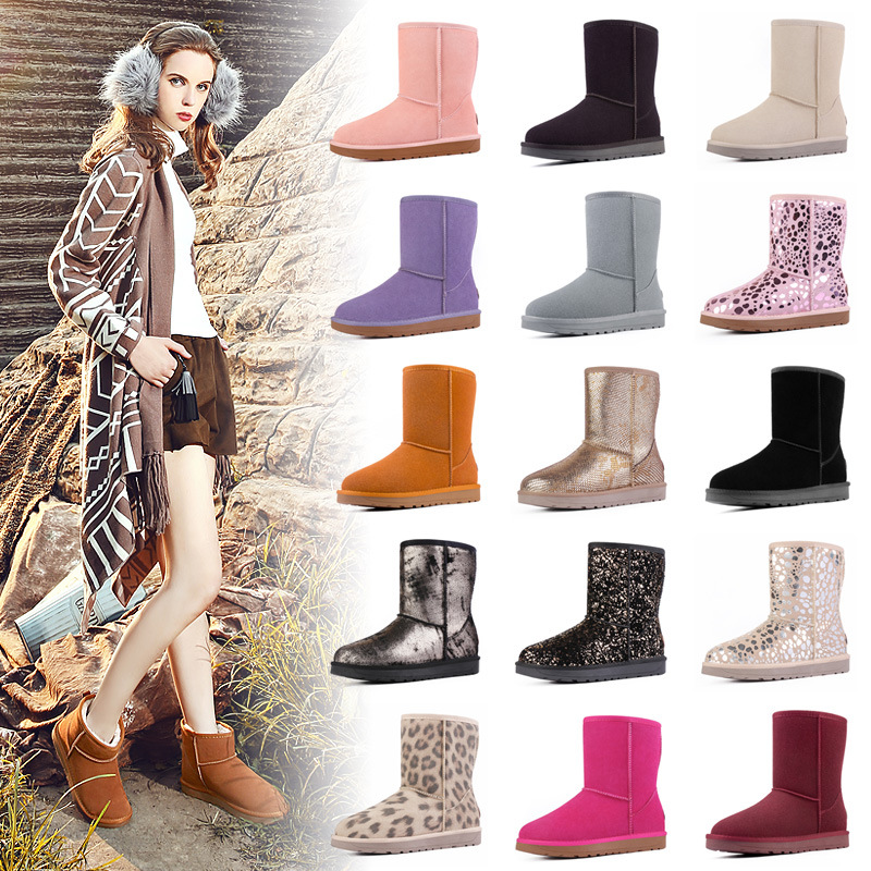 2017 Winter Snow Boot Women Platform Warm Plush Suede Australia Ankle Boots Genuine Leather Flat Heel School Student Shoes 35-40 2016 hot sale male snow boots genuine leather ankle suede snow boots winter shoes for men and women mens boot shoe 35 48
