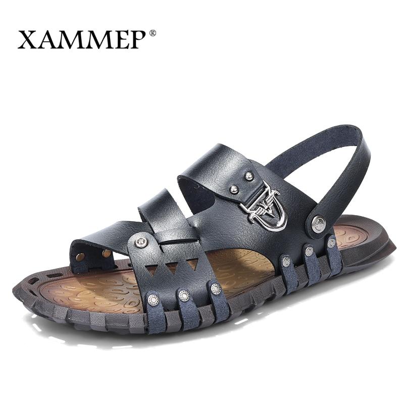 Xammep Men Sandals Men Beach Shoes Brand Men Casual Shoes Men Slippers Sneakers Flip Flops Genuine Split Leather Summer Shoes