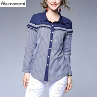 Autumn Winter Plaid Patchwork Shirt Turn Down Collar Ruffles Full Sleeve Women Clothes Blouse Spring Tops