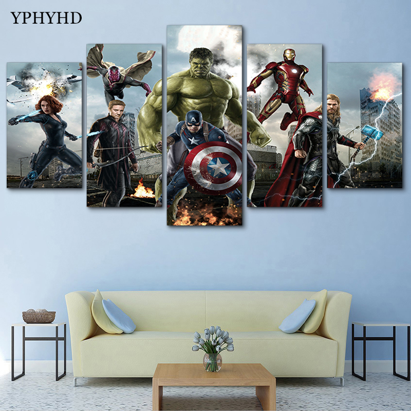 Yphyhd Modern 5 Piece Avengers Canvas Painting Print