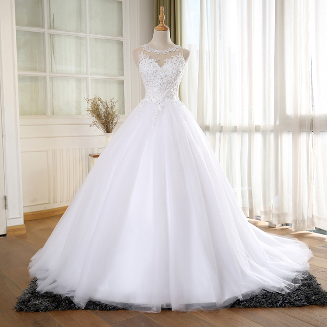 BEPEITHY Ball Gown Vintage Wedding Dress With Pearls Vestido De Novia Princess New Bridal Dresses 2016 Robe De Mariage
