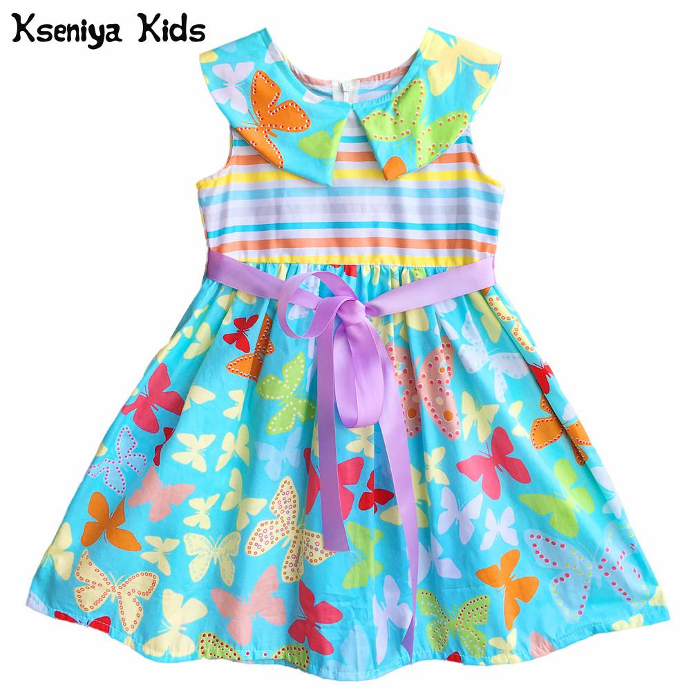 Kseniya Kids Summer Baby Girl Children Blue Butterfly Pattern Peter Pan Collar Cute Casual Cotton Soft Dress For Girls Dresses y 1084040 retail new 2015 summer girls top peter pan collar printing parrot birds girl blouses tees children t shirts clothes
