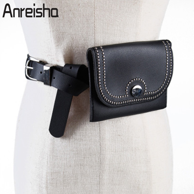 Buy Anreisha Women Fashion Waist Bag PU Leather Pack Belt Bag Functional Waist Pouch Fanny Pack For Women Decoration Belt Bags zm74 for only 19.98 USD