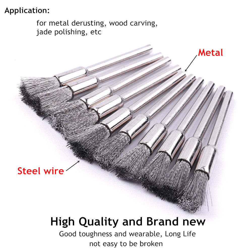 36pcs Brass Wire Steel Wire Brush Set Pen Flat Cup Shaped Polishing Wheel Rotary Tools Kit Stainless Steel Wire Brush