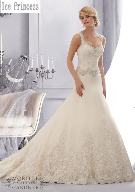 Bridal Gown Tailored High End Mermaid Style Shoulder Straps Beautiful Beading Lace Bottom Wedding Dresses Gowns