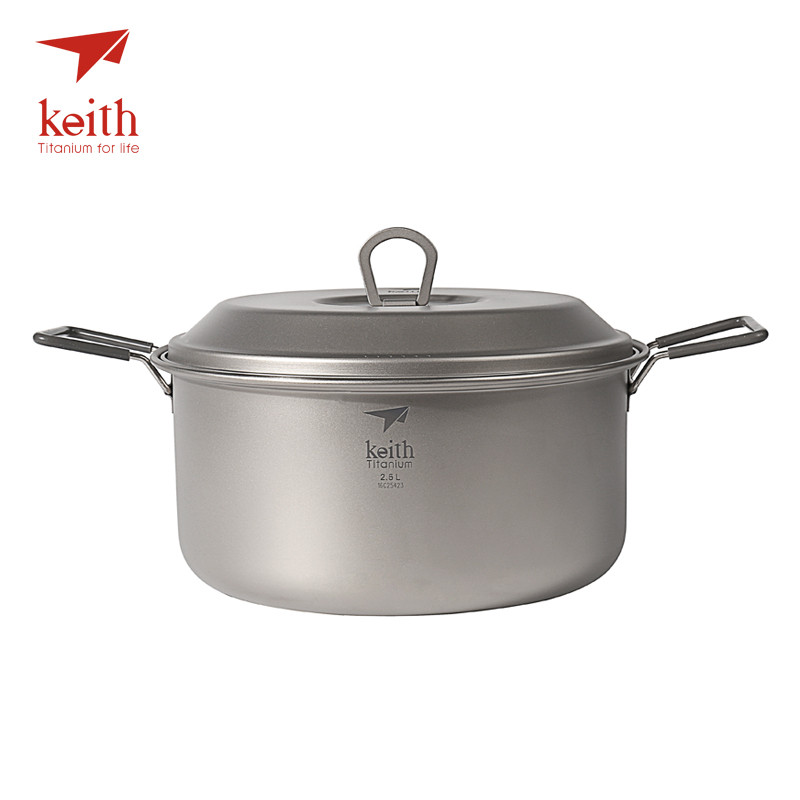 Keith 2 3 Person Camping Titanium Pot Folding Handle Portable Outdoor Ultralight Cooking Pot Picnic Cookware