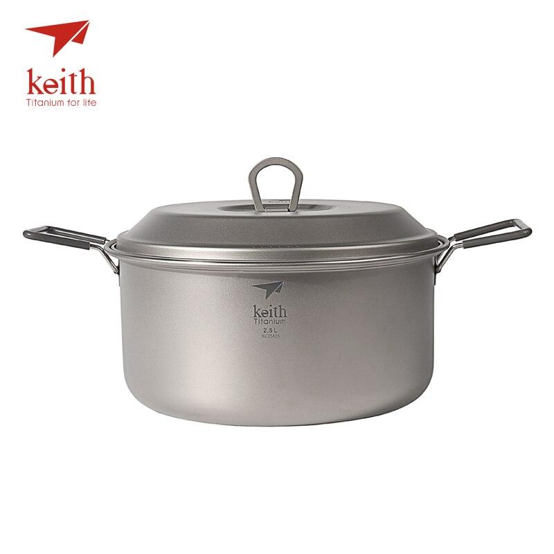 Keith 2-3 personne Camping Pot en titane poignée pliante Portable extérieur ultra-léger marmite pique-nique ustensiles de cuisine couverts 2.5L Ti6018